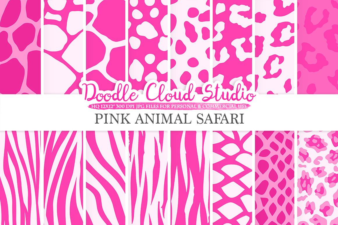 Pink Animal Safari digital paper, Fur pattern, Giraffe ...