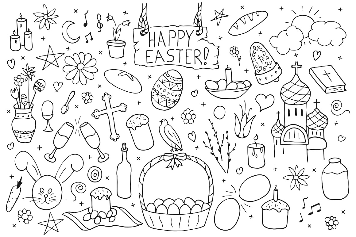 Happy Easter hand drawn collection. example image 5