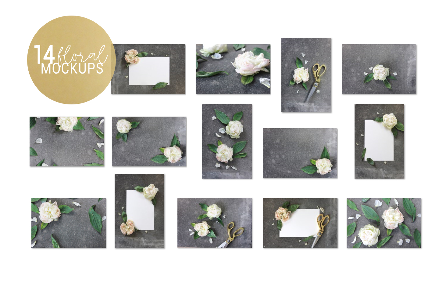 White & gray floral mockup, flower stock images example image 5