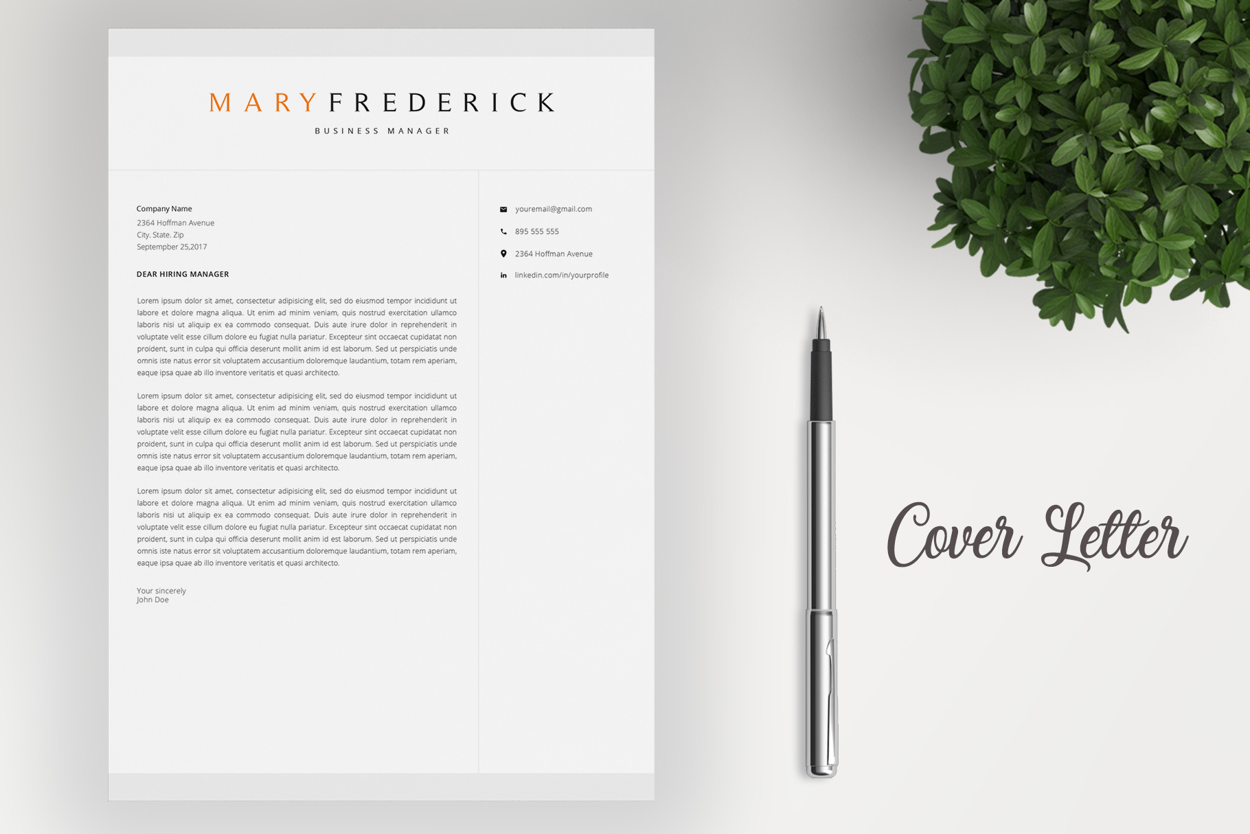 Resume Template   4 Pages   Cover Letter example image 4