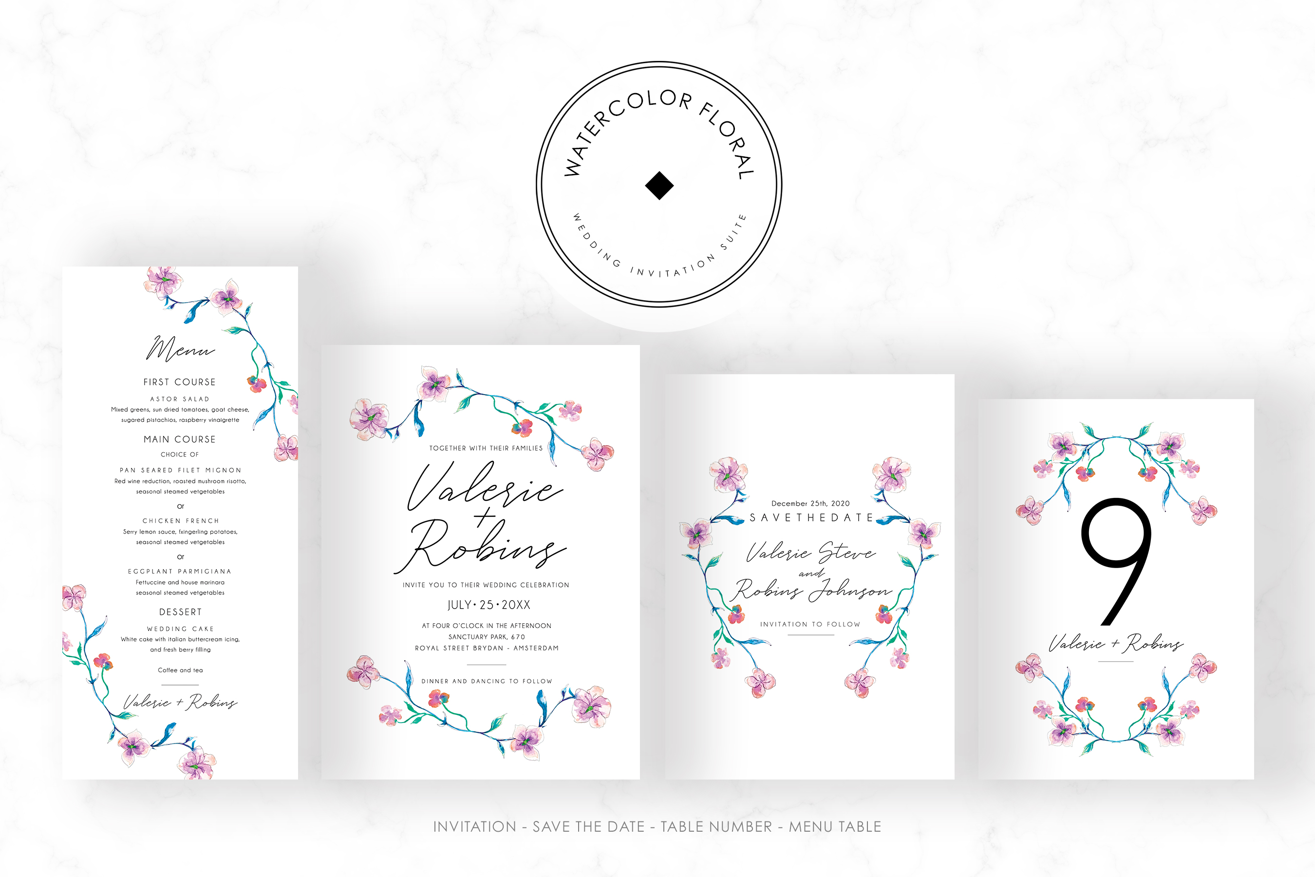 Watercolor Floral Invitation Suite example image 5
