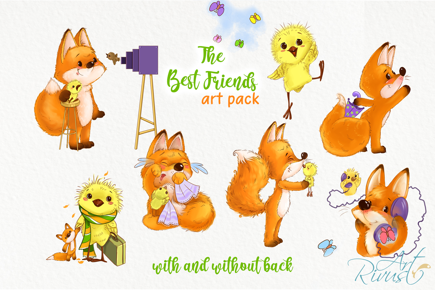 Fox and chick PNG clipart. The best friend graphic art. example image 6