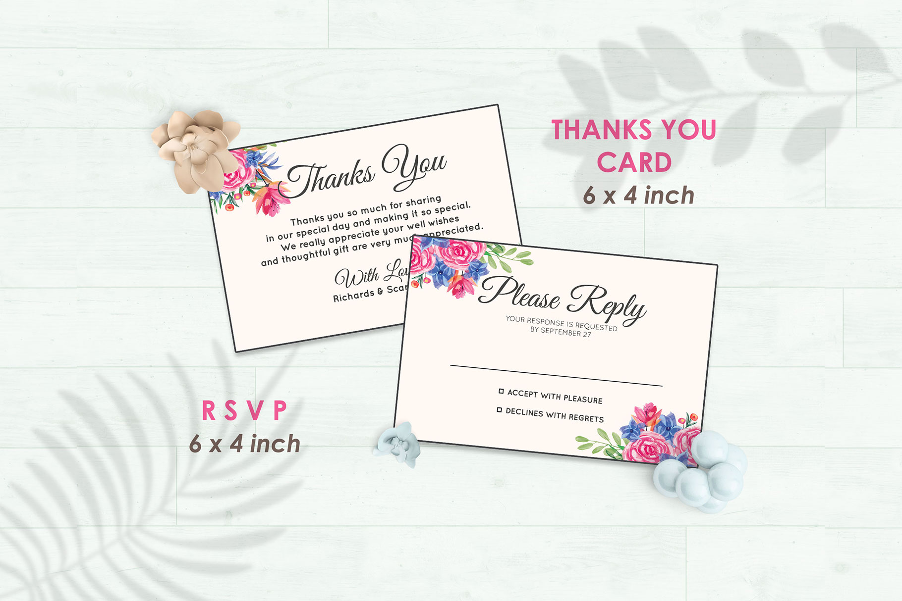 Wedding Invitation Set #8 Watercolor Floral Flower Style example image 4