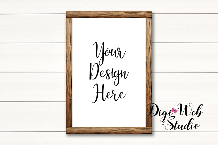 Wood Signs Mockup Bundle - 10 Wood Frames on White Shiplap example image 6