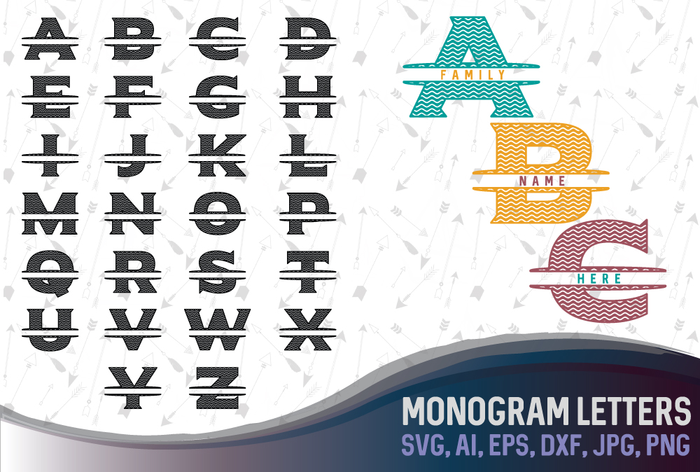 Letters for monograms Bundle SVG, DXF, JPG, PNG, DWG, AI, EPS example image 1