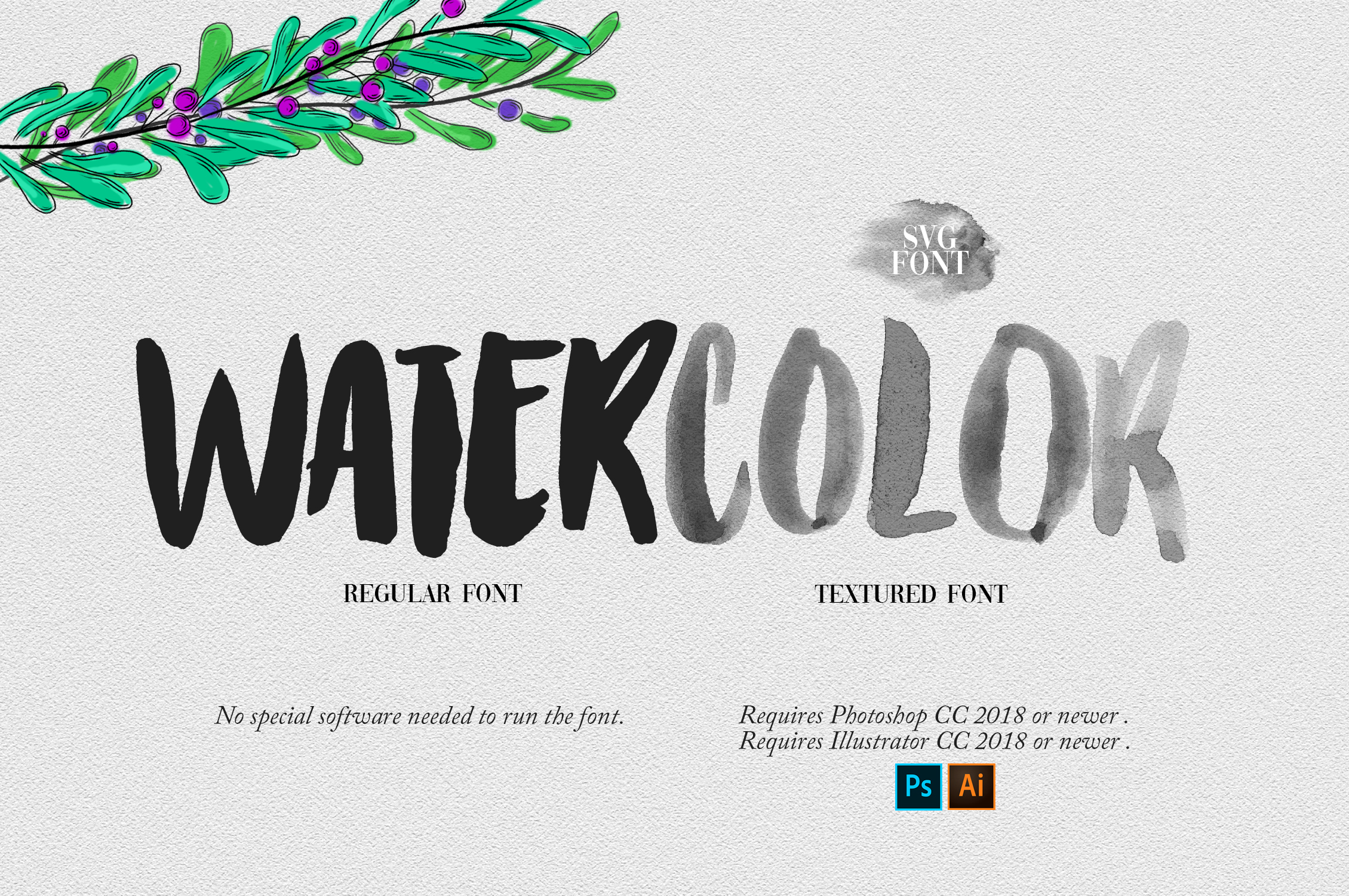 Watercolor Opentype-SVG Font example image 4