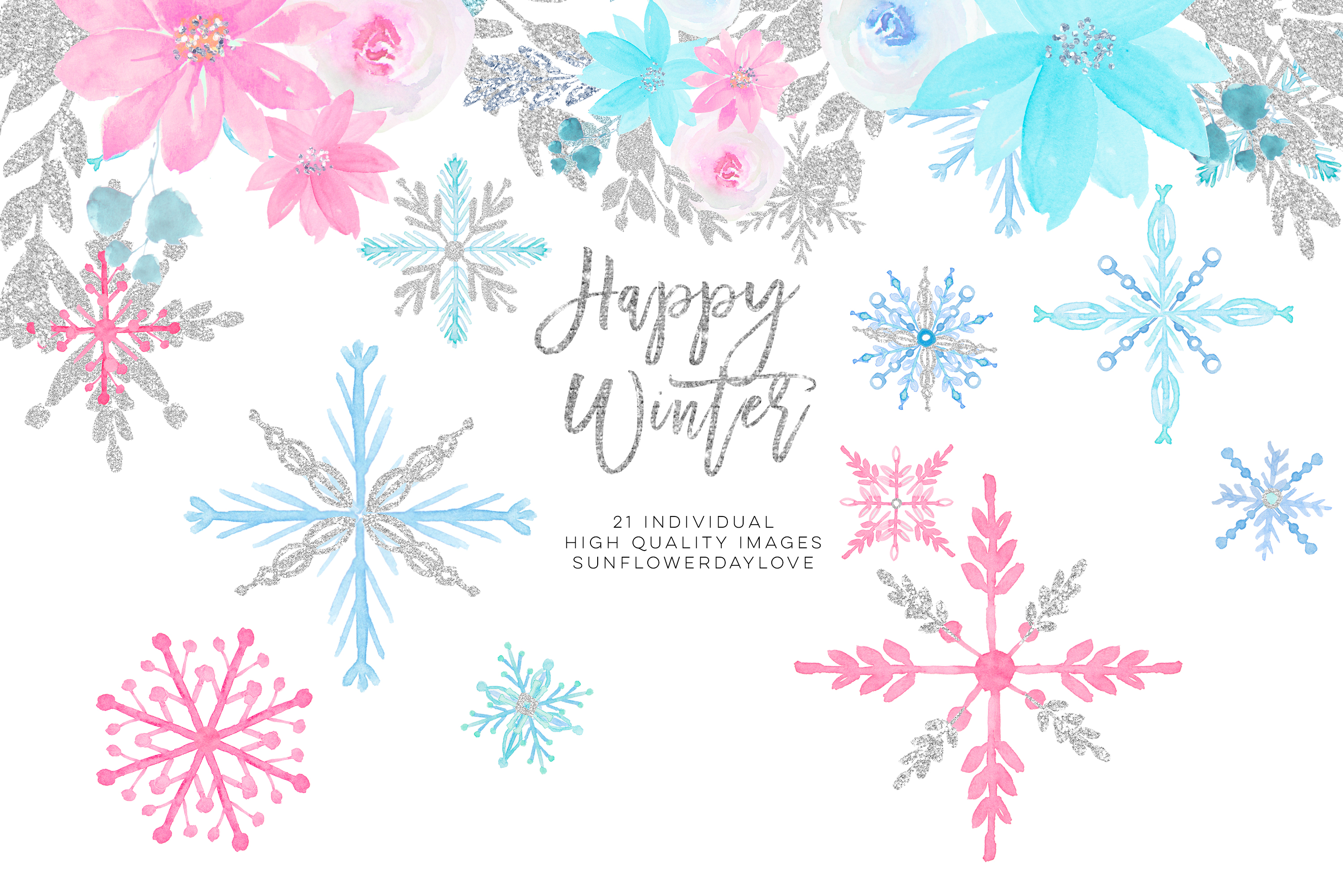 Winter onederland clipart, winter snowflakes clipart example image 4