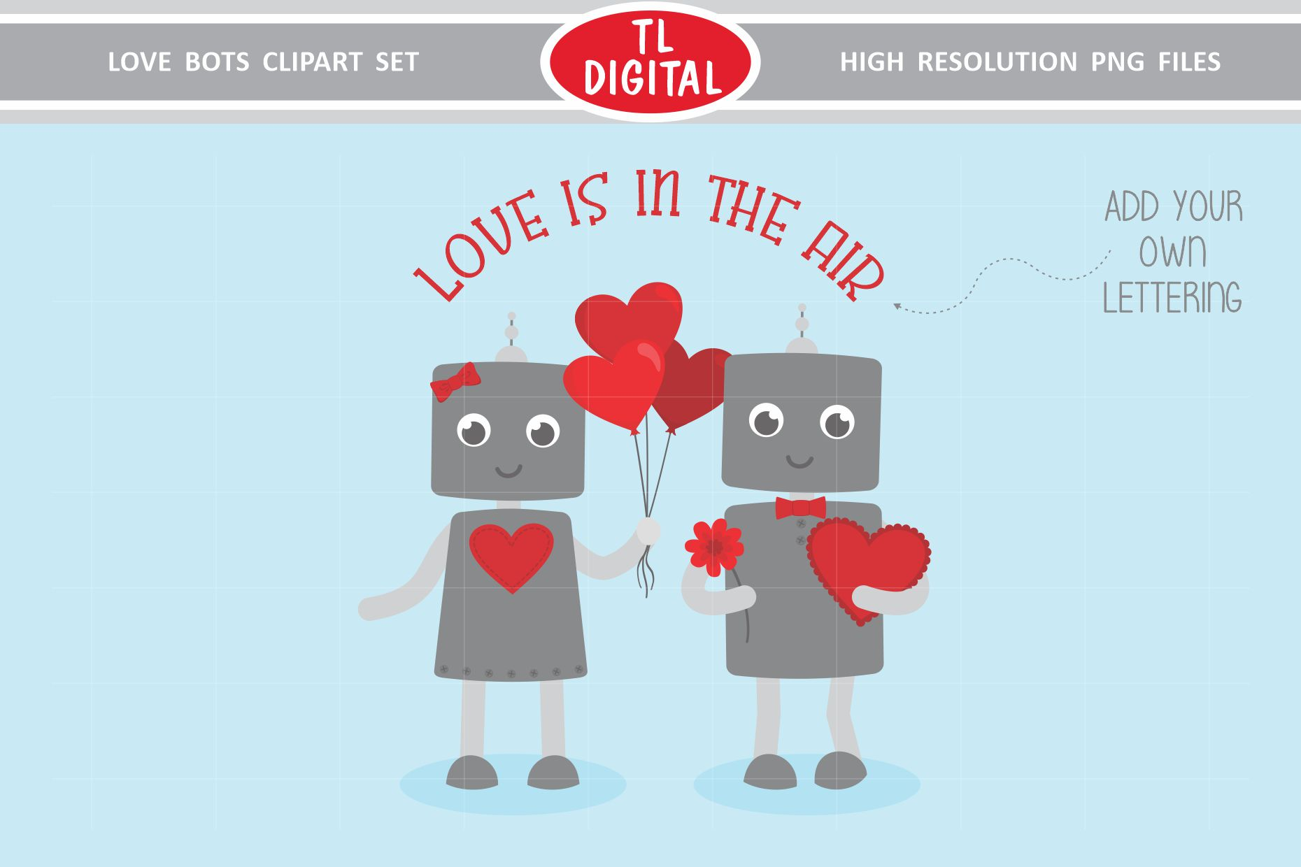 Love Robots Clipart Set - 13 Valentines PNG Graphics example image 5