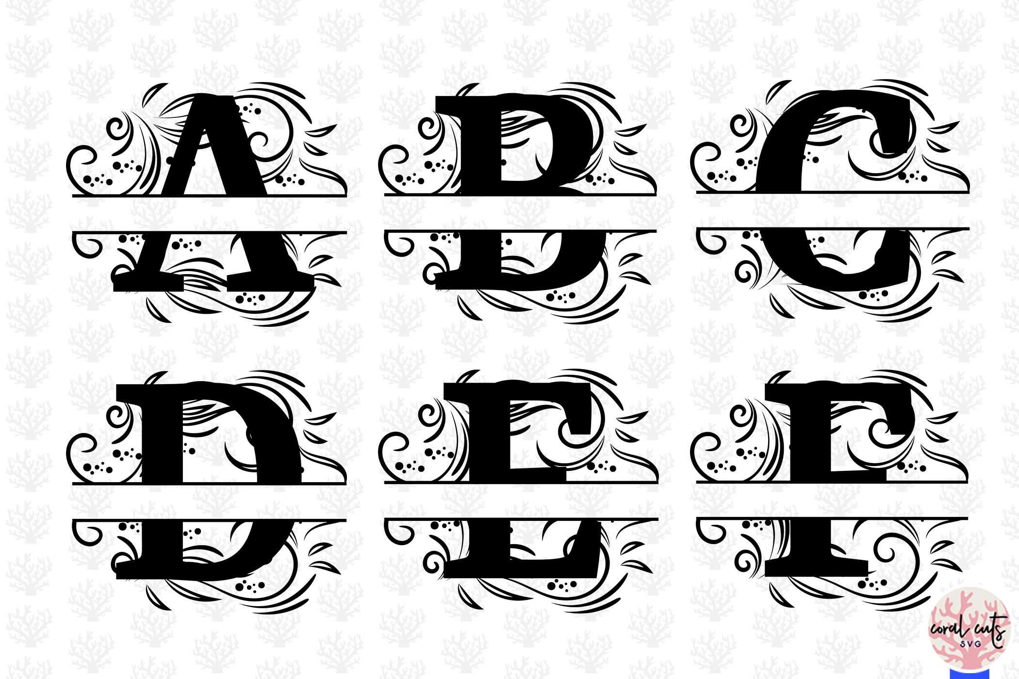 Floral Split Alphabet Monogram - Svg EPS DXF PNG File example image 2