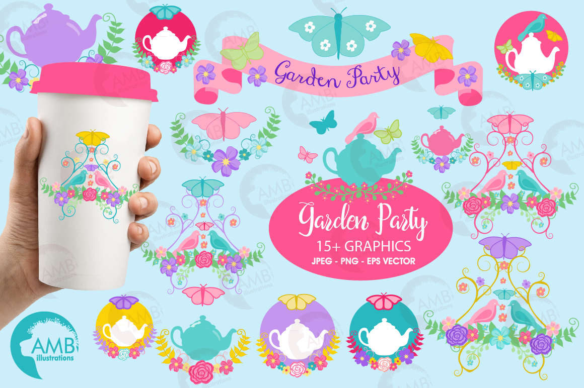 Country floral clipart, Garden party clipart example image 1