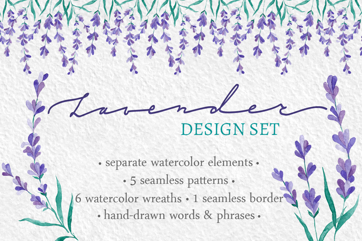 Watecolor Lavender Clip Art Set example image 1