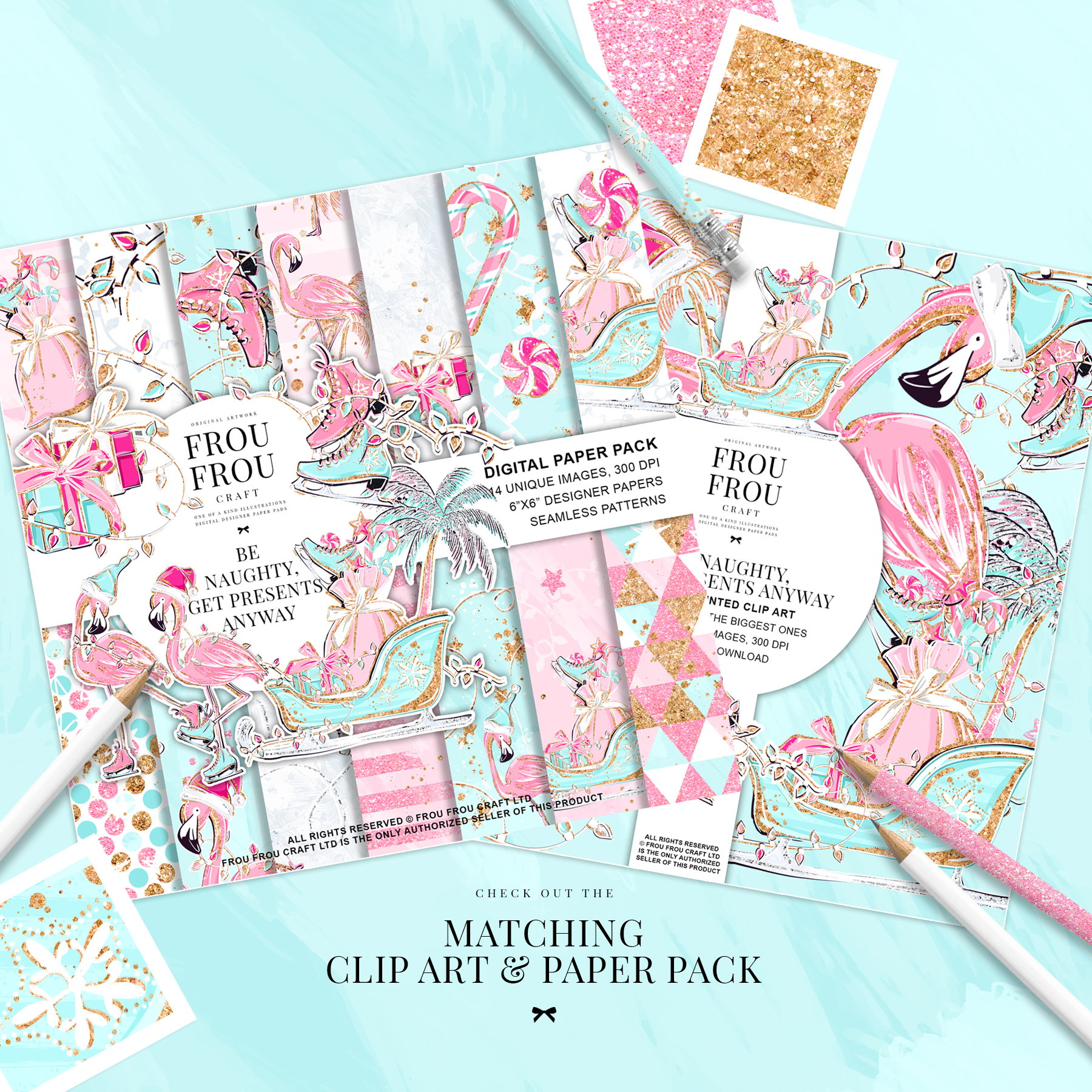 Pink Flamingo Christmas Presents Glitter Paper Pack example image 2