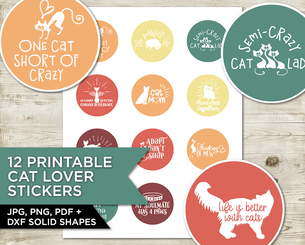 12 Cat Lover Stickers/ Cupcake Toppers example image 1