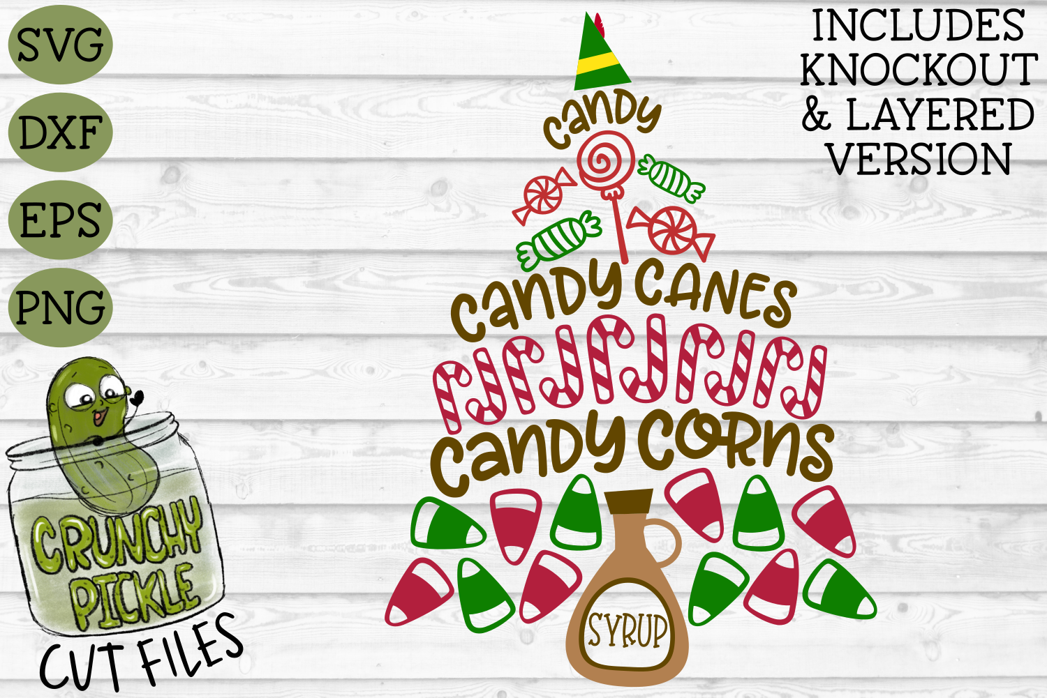 Candy & Syrup Elf Diet Christmas Phrase SVG example image 2