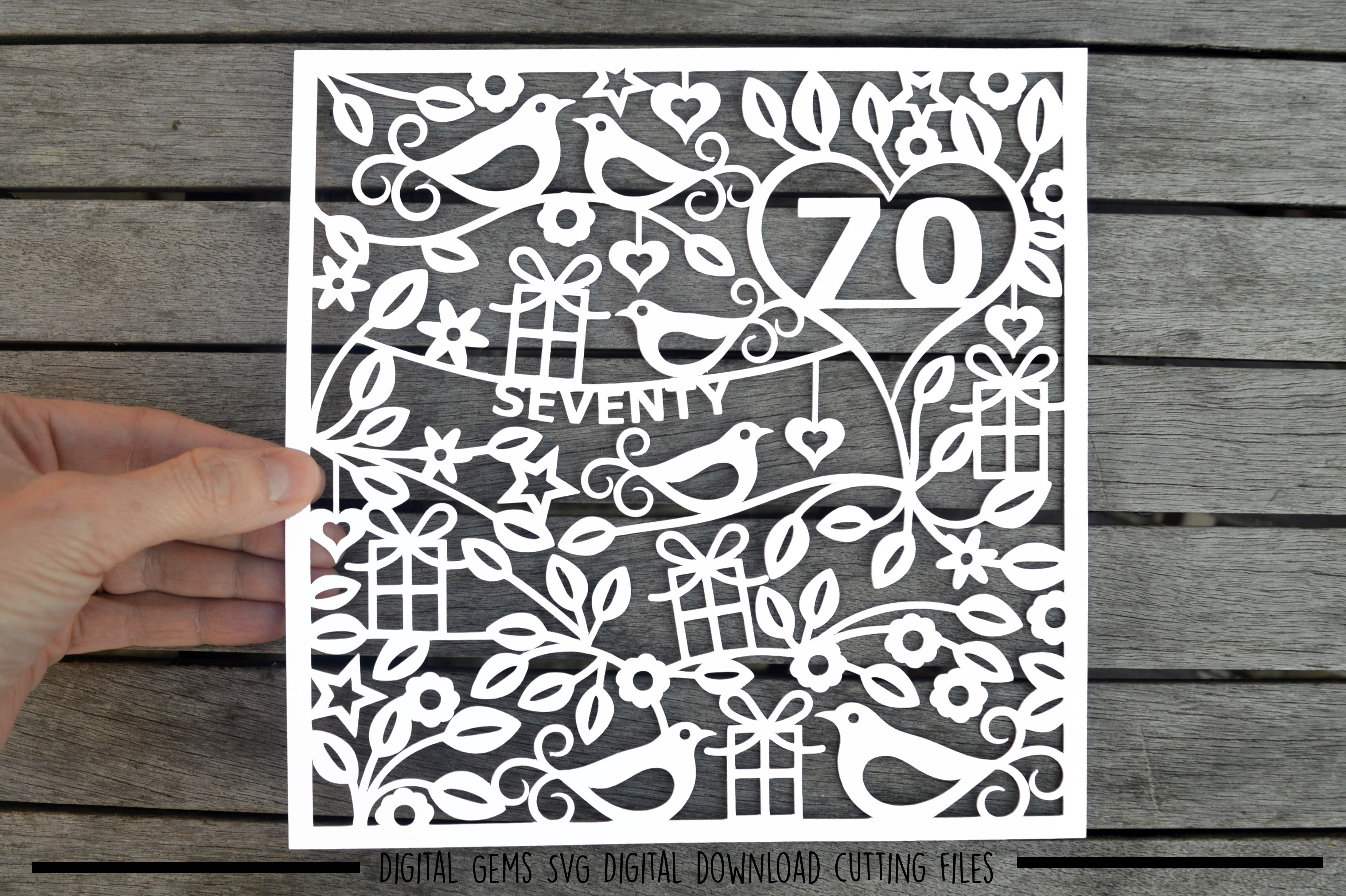 Number 70 paper cut SVG / DXF / EPS files example image 1