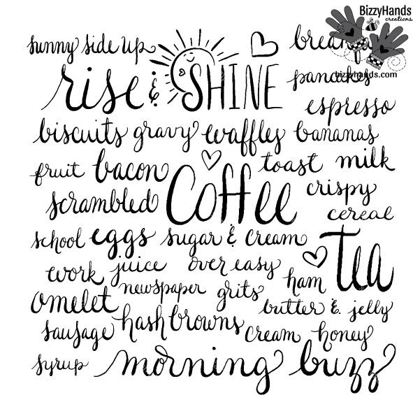 Morning Buzz 1 Handwritten Word Art