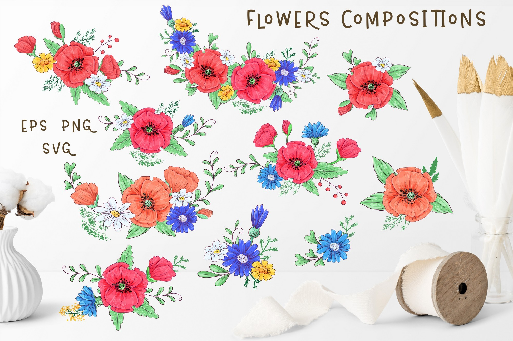 Cute Foxes and poppies - vector clip art example image 4
