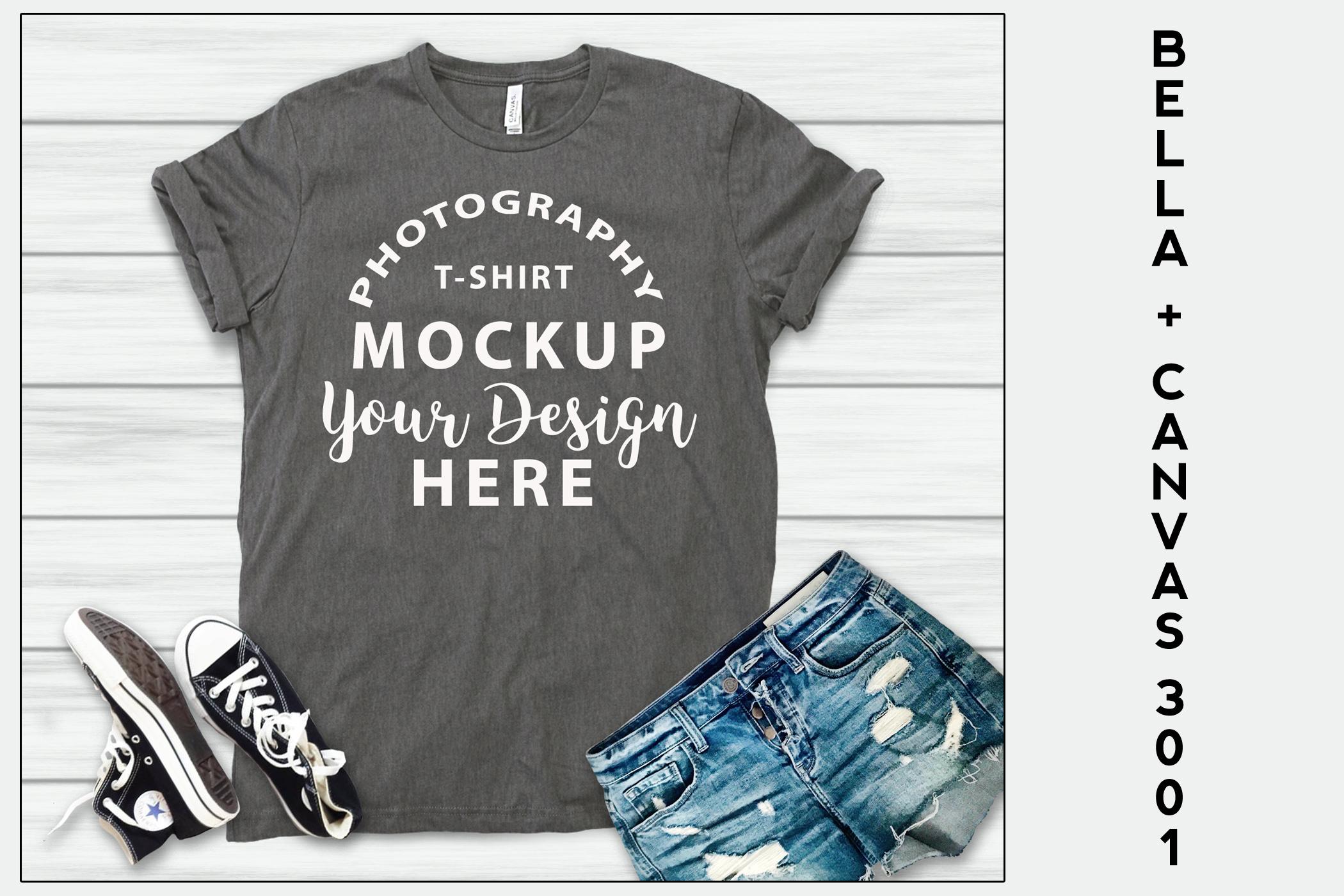 Bella Canvas 3001 T-shirt mock-up, color ASPHALT example image 1