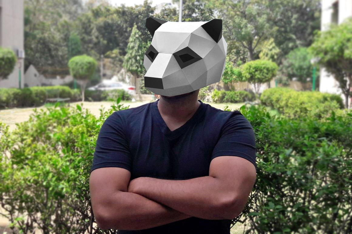DIY Panda Mask - 3d papercraft example image 1