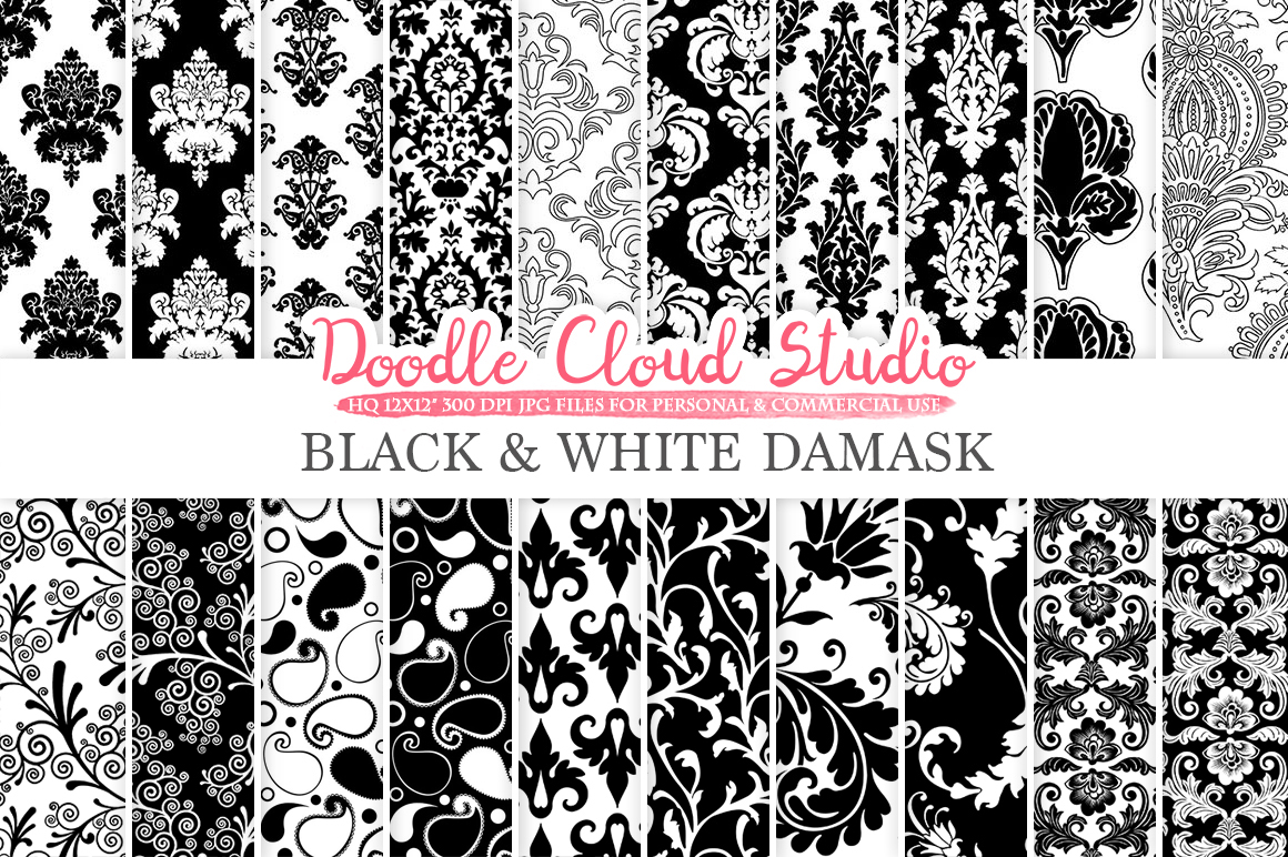 Black and White Damask digital paper, Swirls patterns, Digital Floral Damask, Black and White background for Personal & Commercial Use example image 1