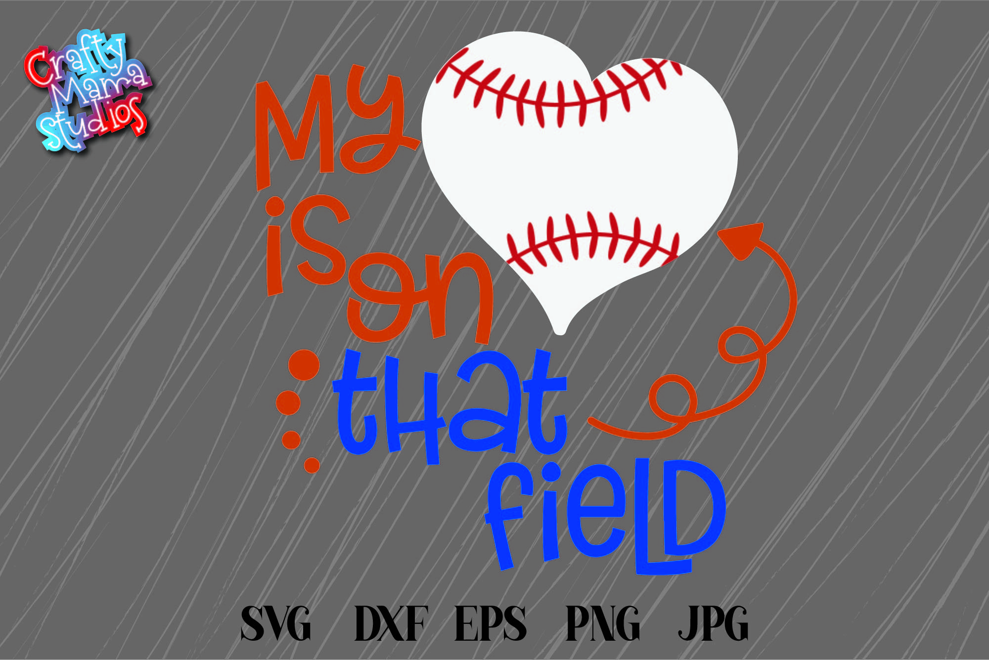 Baseball Mom SVG, My Heart Is On That Field SVG, Baseball example image 2