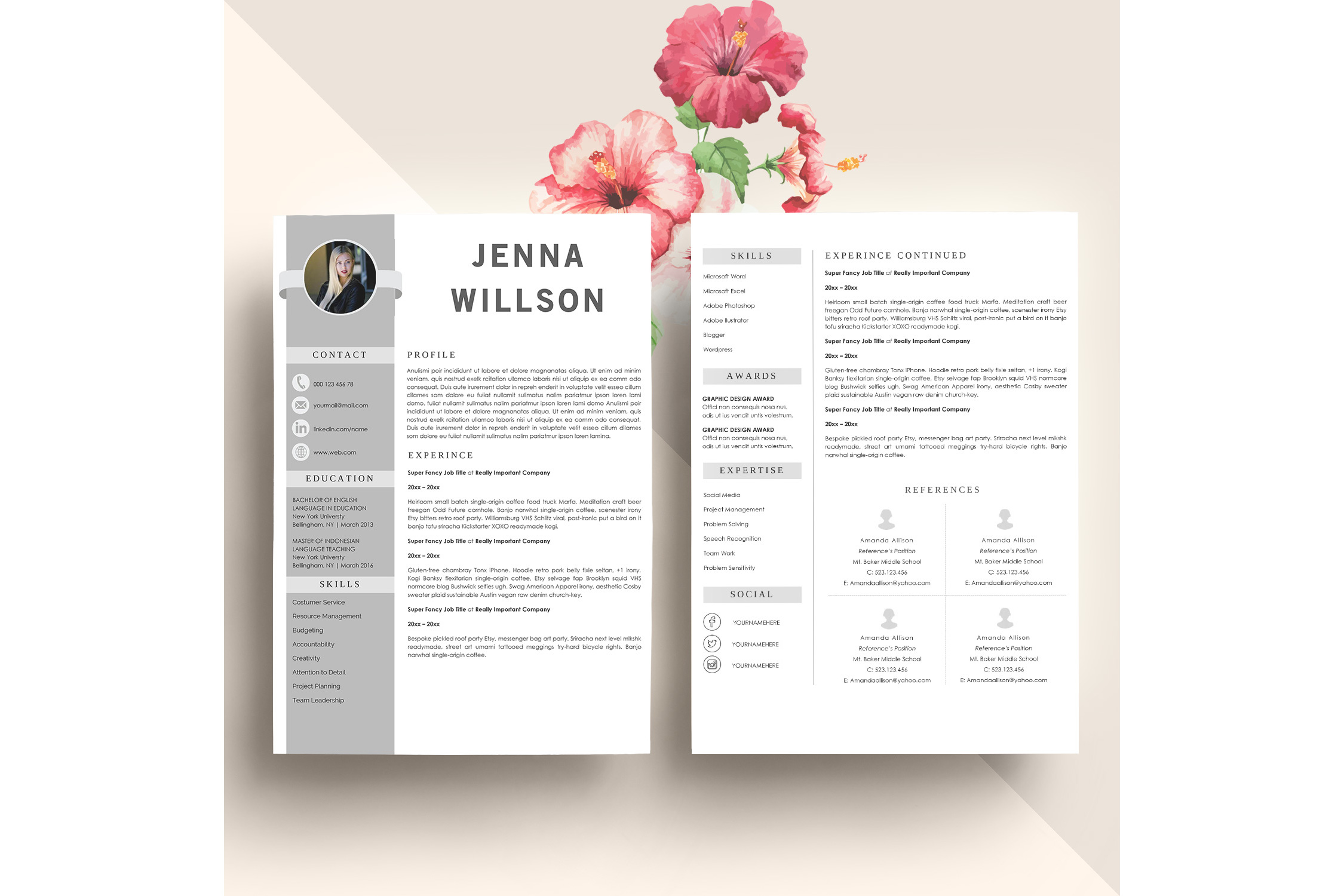 Professonal Resume Template Word example image 2