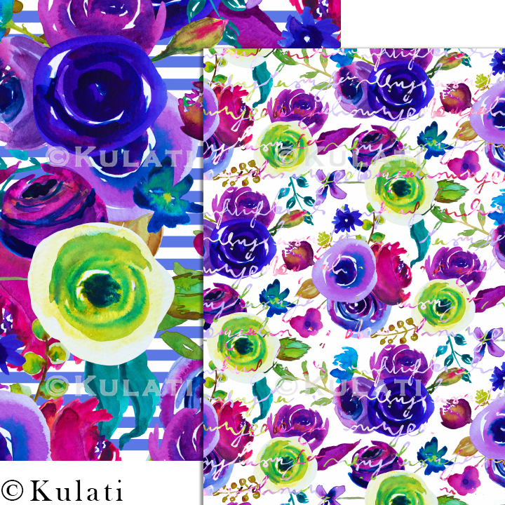Watercolor Floral Seamless Patterns example image 5