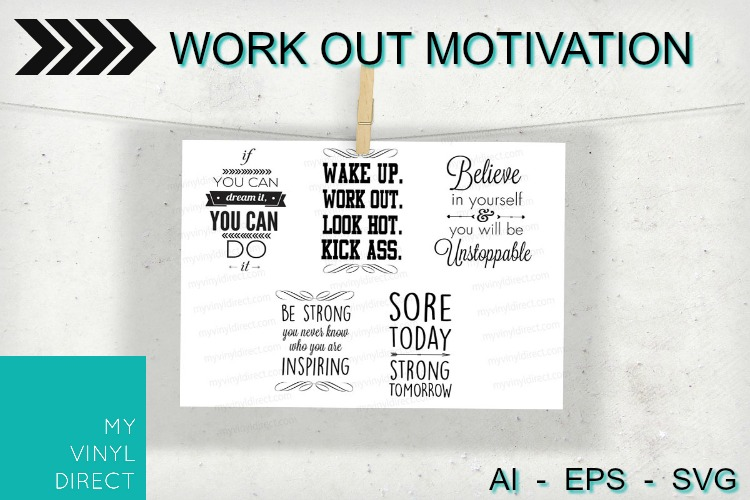 5pk Work Out Motivation Cutting Files example image 1