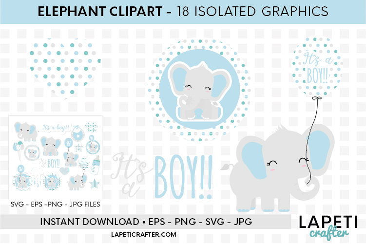 Baby Boy Elephant, gender reveal, baby shower clipart example image 5