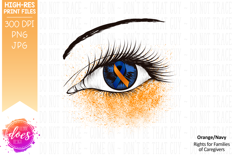 Orange/Navy Awareness Ribbon Eye - Printable Design example image 2