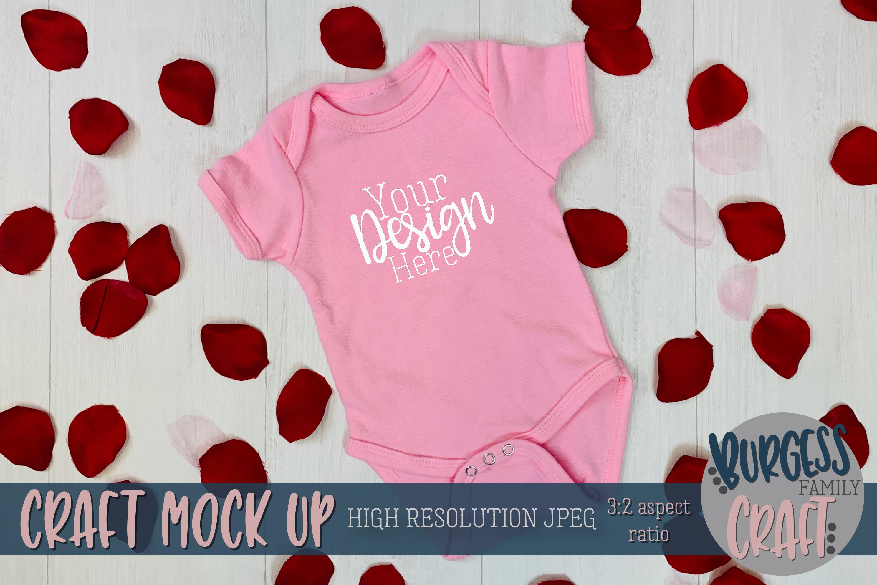Valentine light pink baby bodysuit Craft mock up example image 1