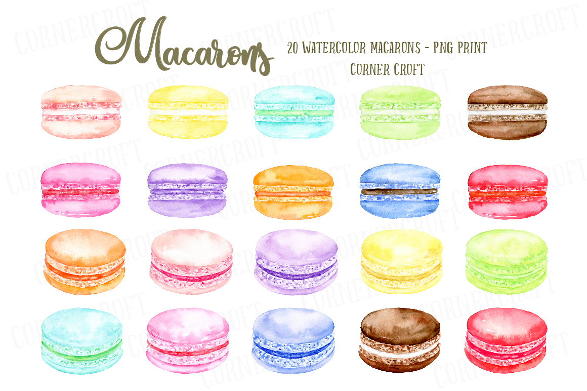 Watercolor Macaron Illustration example image 2
