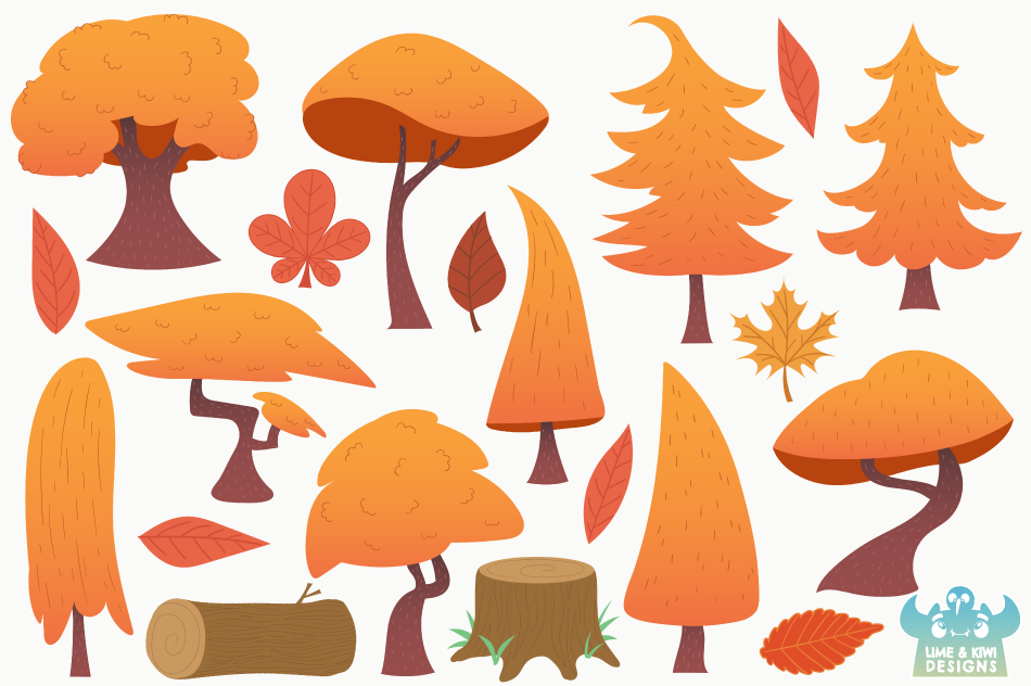 Autumn Woodland Trees Clipart, Instant Download Vector Art example image 2