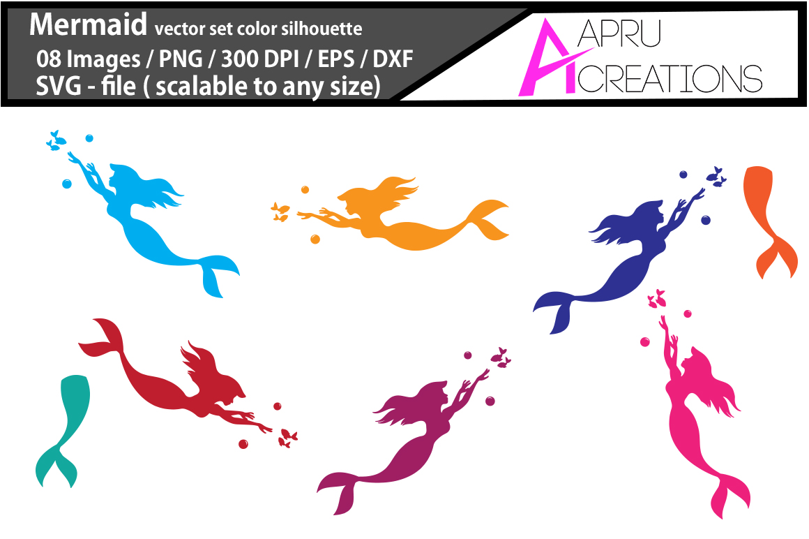 mermaid vector clipart / mermaid vector silhouette / mermaid svg / mermaid eps / dxf / png, mermaid color clip art example image 1