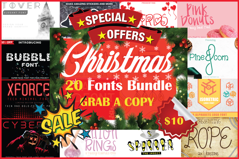 Christmas Fonts Bundle Vol. 2 Pack, 20 Fonts example image 1