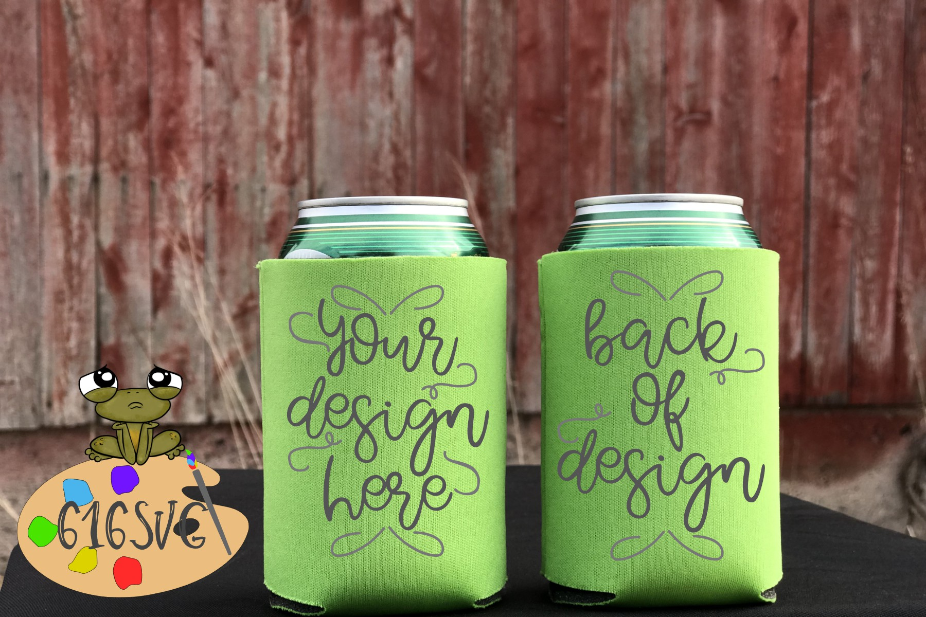 Neon Green Can Cooler Mockup example image 2