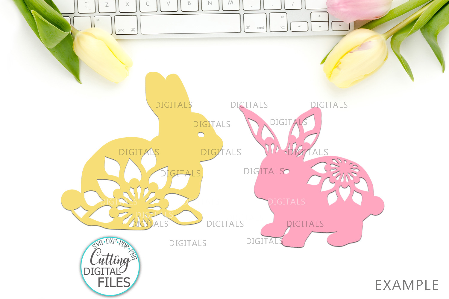 Floral Easter Bunnies set paper cut laser cut svg dxf files example image 4