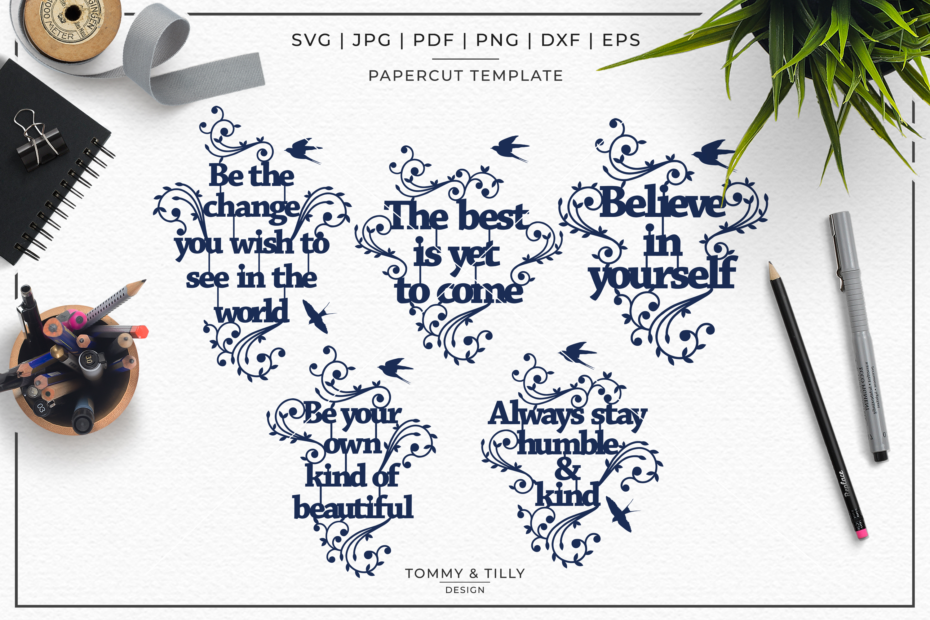 Inspirational Quotes Bundle - Papercut SVG DXF PNG JPG PD example image 2