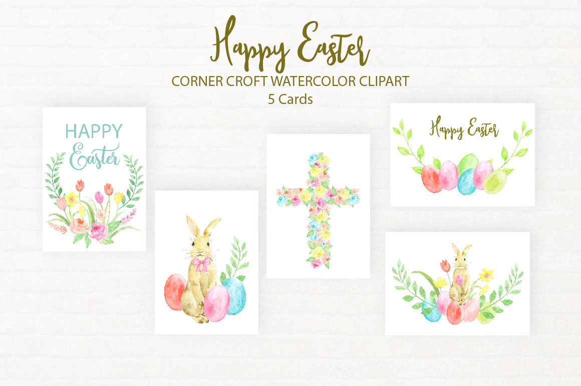 Watercolor Illustration Happy Easter example image 3