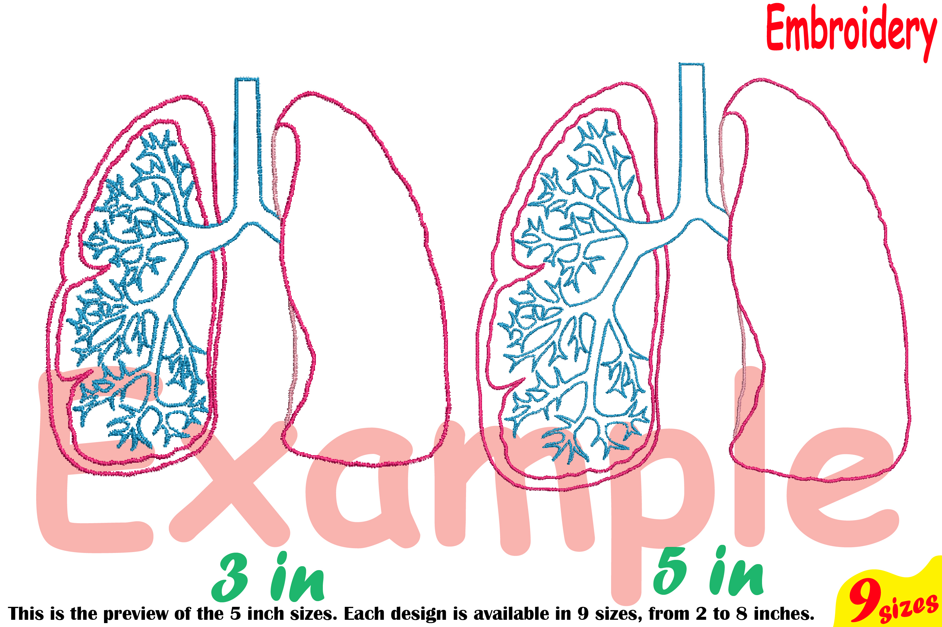 Lungs Outline Embroidery Design Machine Instant Download Commercial Use digital science school hospital biology Medic Organs Anatomy 203b example image 3