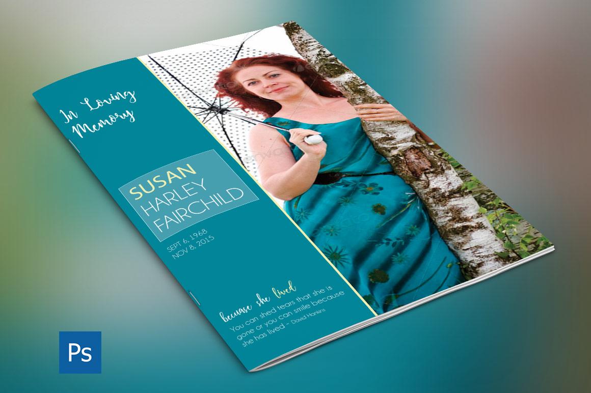 Memories Bi-Fold Funeral Program Template example image 1