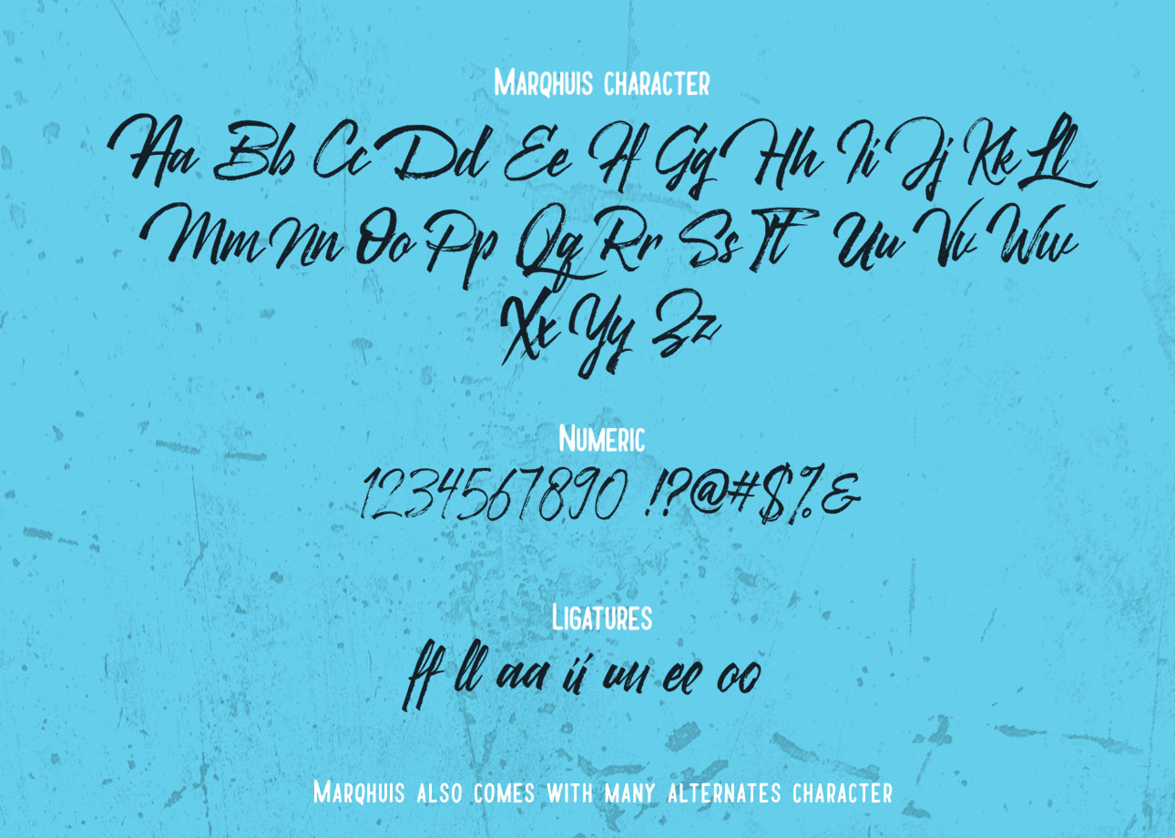 Marqhuis Brush font example image 3