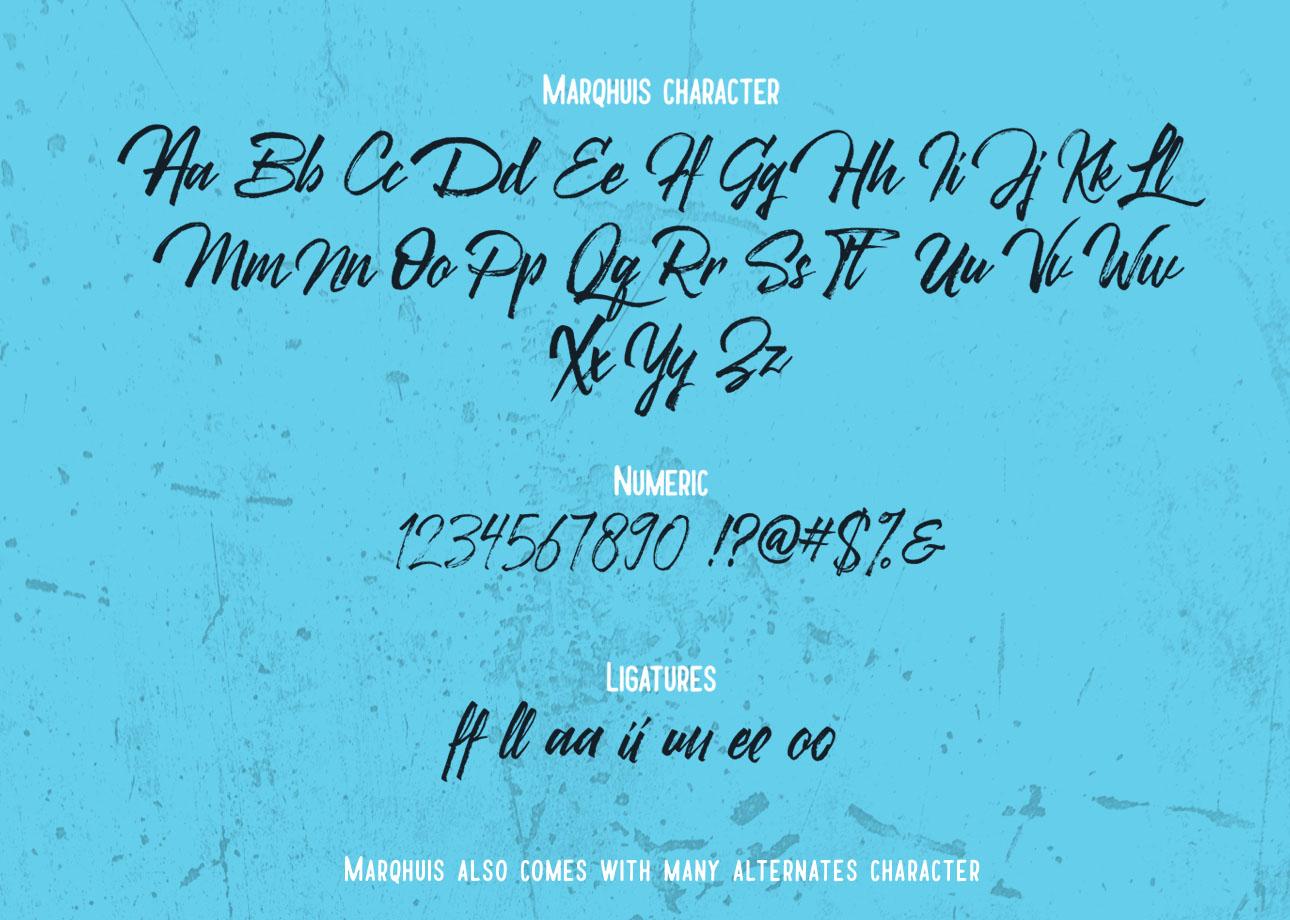 Marqhuis Brush font example image 3
