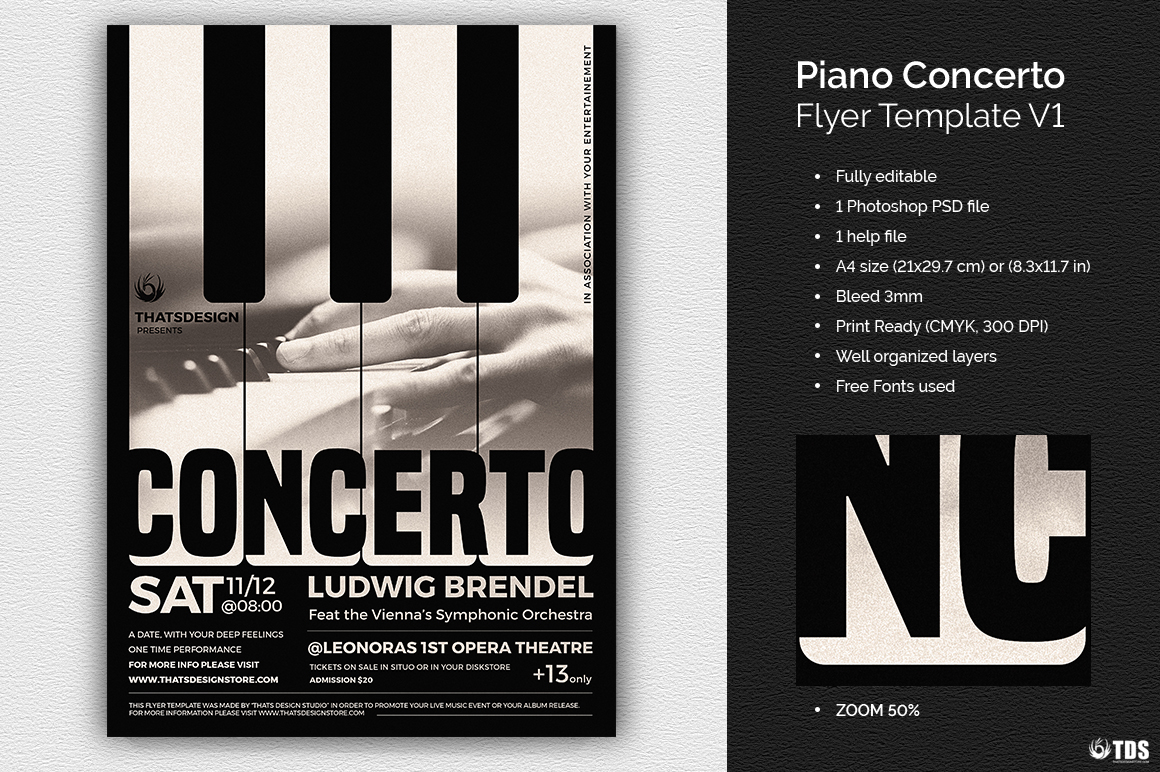 Piano Concerto Flyer Template V1 example image 1