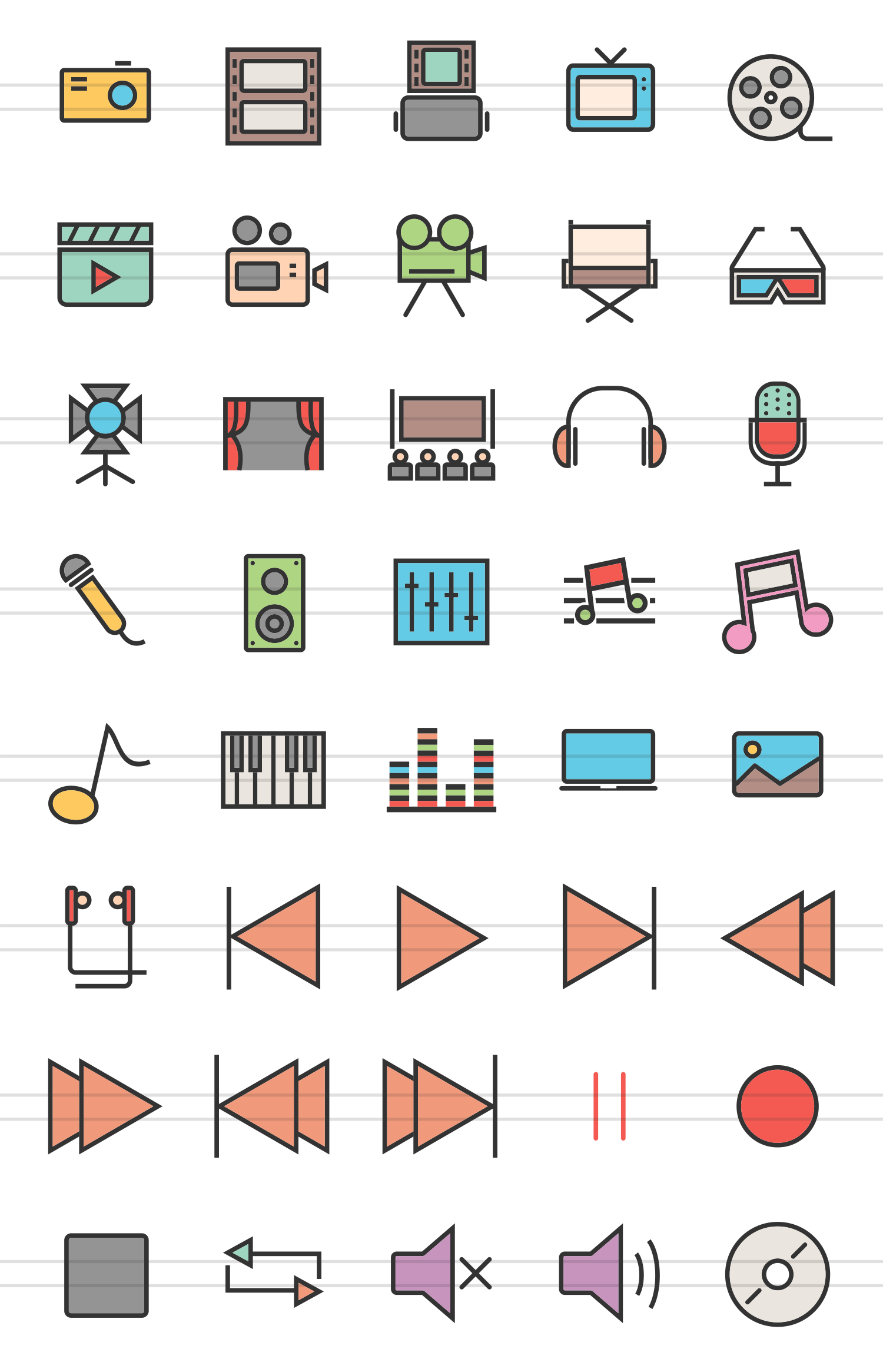 40 Multimedia Linear Multicolor Icons example image 2