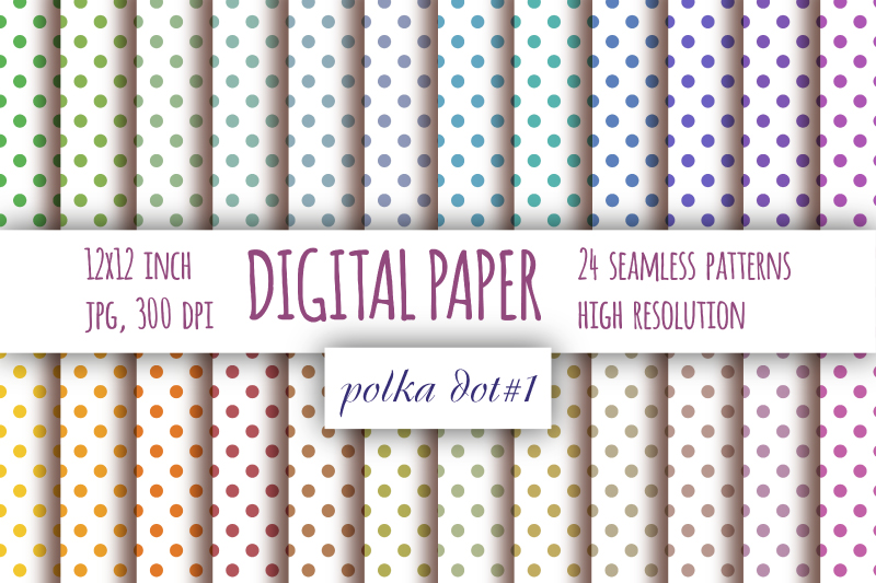Pastel Polka dot digital paper. Dotted digital background example image 1