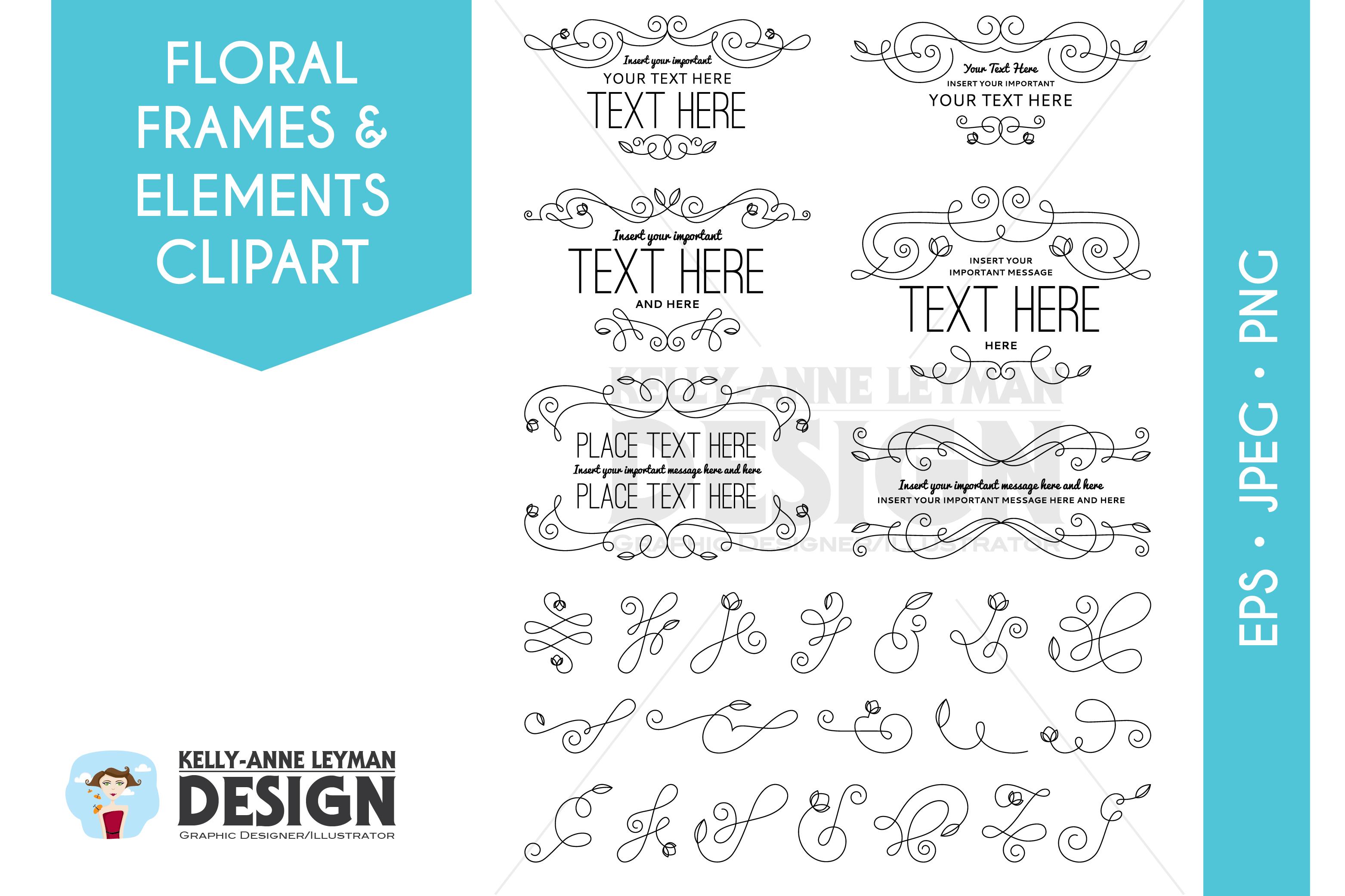 Floral Digital Frames Clipart, Digital Labels clipart set example image 1