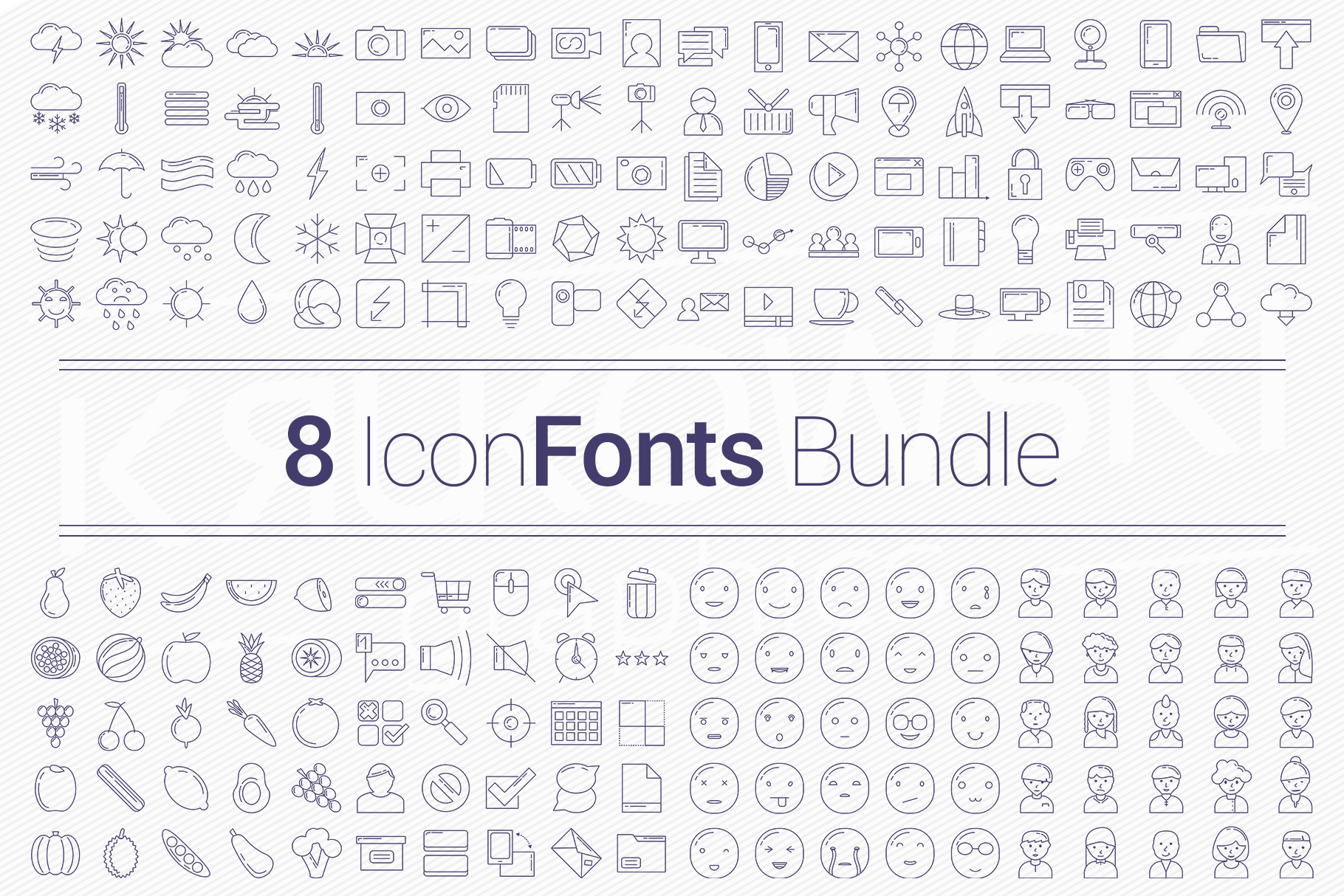 200 Icons in 8 Fonts - Bundle example image 1