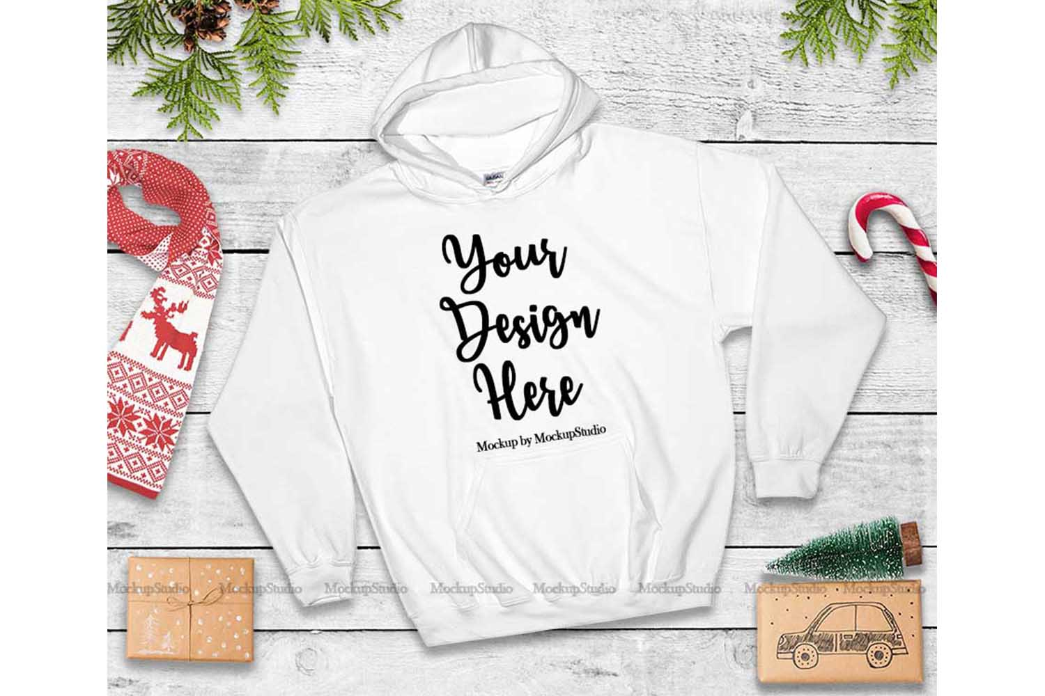 Christmas White Hoodie Mockup, Winter Holiday Flat Lay example image 1