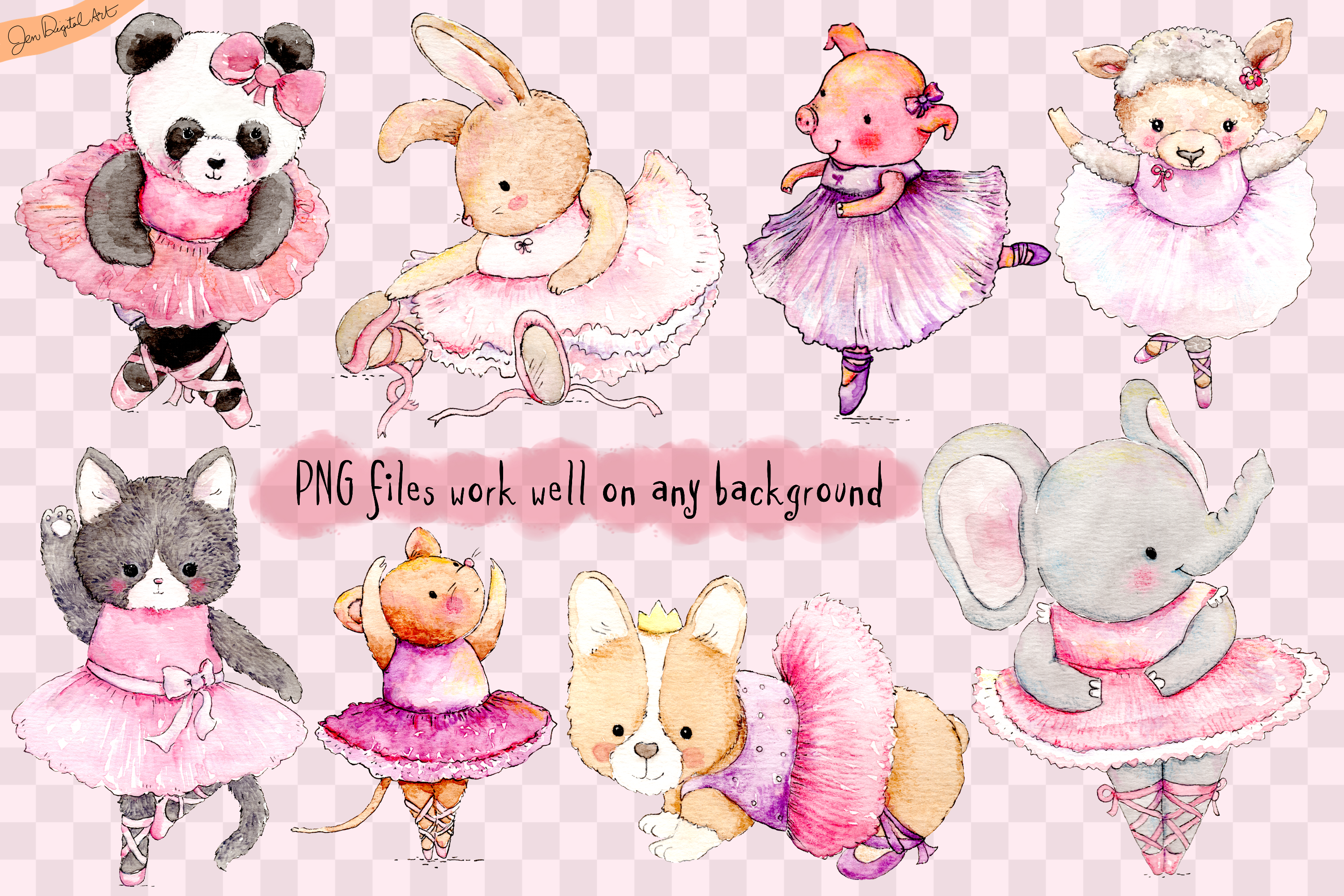 Watercolor Ballet Animals | 8 Clip Art Illustrations-PNG/JPG example image 10